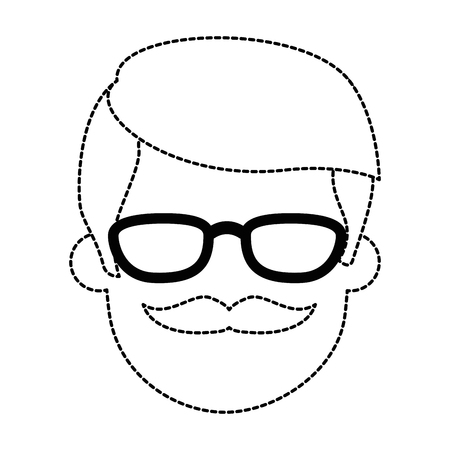 Young mans head with glasses and mustache, avatar character, vector illustration design