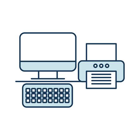 kantoor printer met computer vector illustratie ontwerp Stock Illustratie