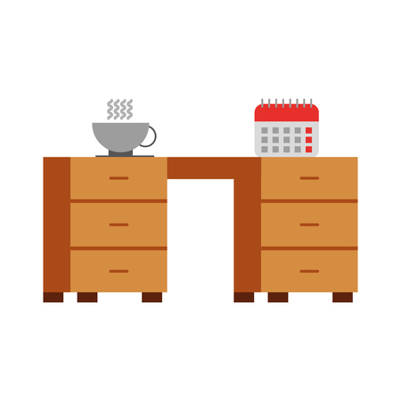 office desk with calendar and coffee cup vector illustration design Ilustracja
