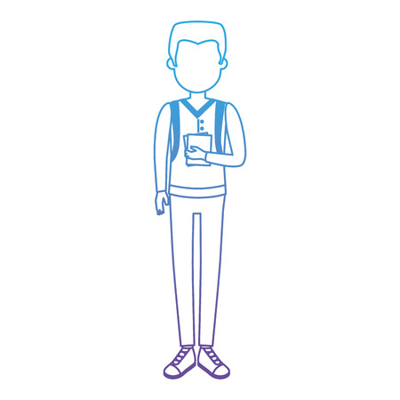 Young man with school bag avatar character vector illustration design