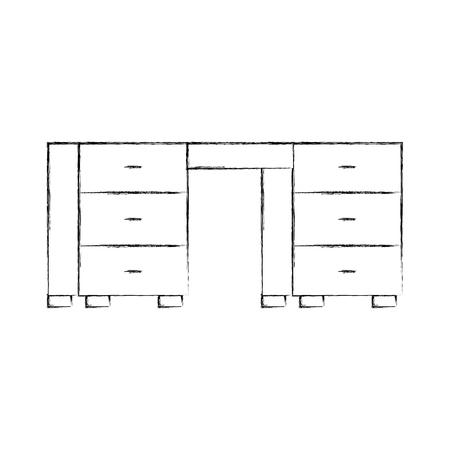 office desk isolated icon vector illustration design Ilustracja