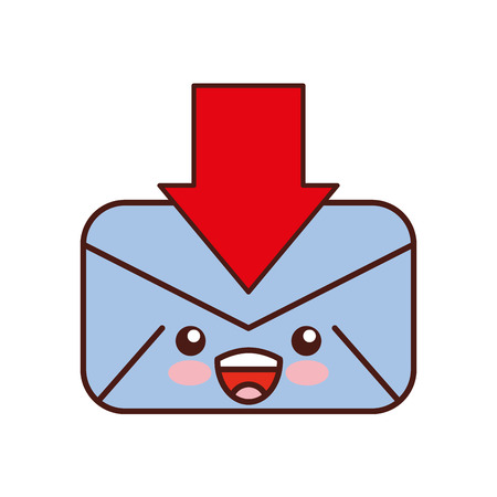 Envelope mail with arrow download kawaii character vector illustration design Ilustrace