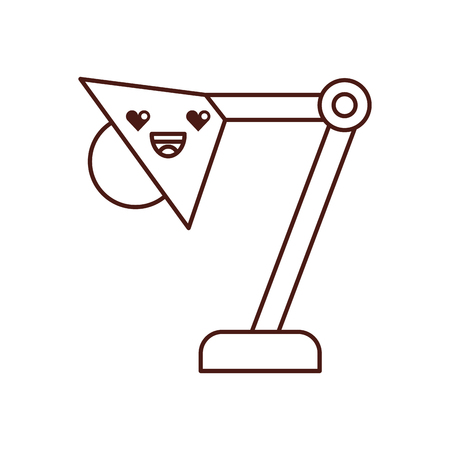 사무실 램프 가와이 문자 벡터 일러스트 레이션 디자인