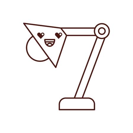 Ontwerp van de het karakter het vectorillustratie van de bureaulampkawaii