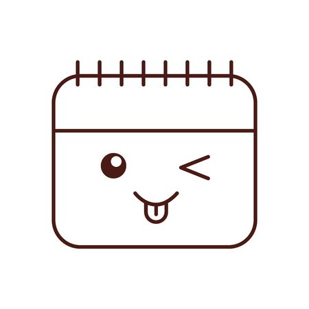 Calendar reminder kawaii character vector illustration design