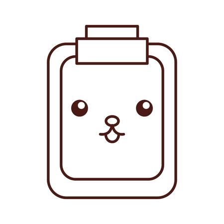 Paper clipboard kawaii character vector illustration design Stock Vector - 94927423
