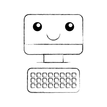Computer desktop with keyboard kawaii character vector illustration design Illustration