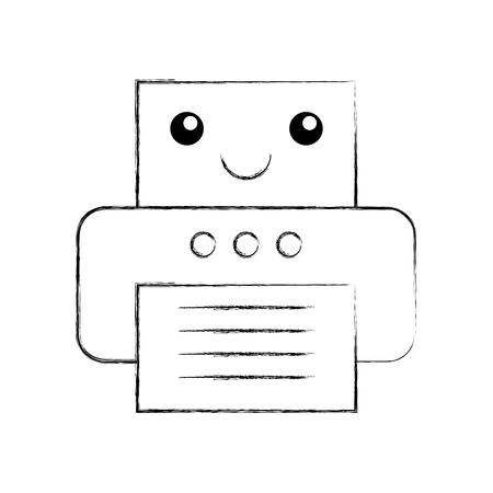 Office printer kawaii character vector illustration design