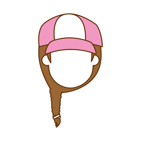 beautiful woman with cap avatar character vector illustration design Illusztráció