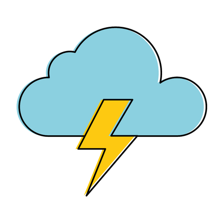 weather cloud rainy with ray vector illustration design Ilustração