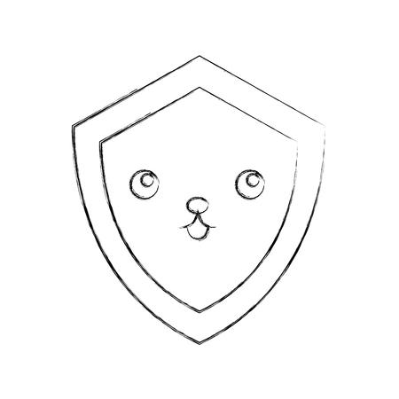 shield guard kawaii character vector illustration design