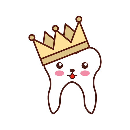 Human tooth with crown character vector illustration design