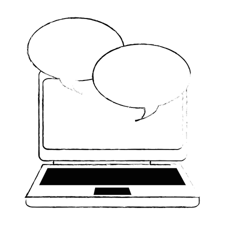 laptop computer with speech bubbles vector illustration design