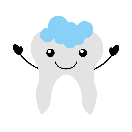 Human tooth with toothpaste character vector illustration design. Illustration