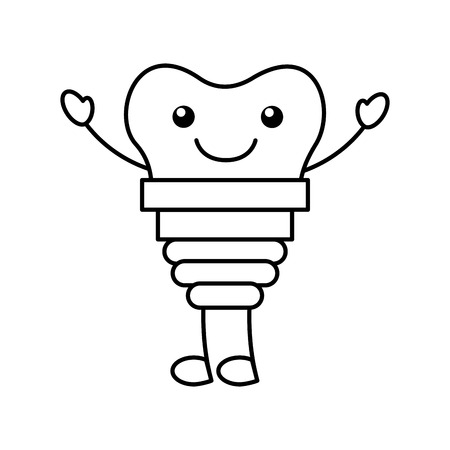 tooth implant  character vector illustration design