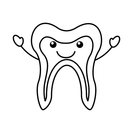 Human tooth character vector illustration design.