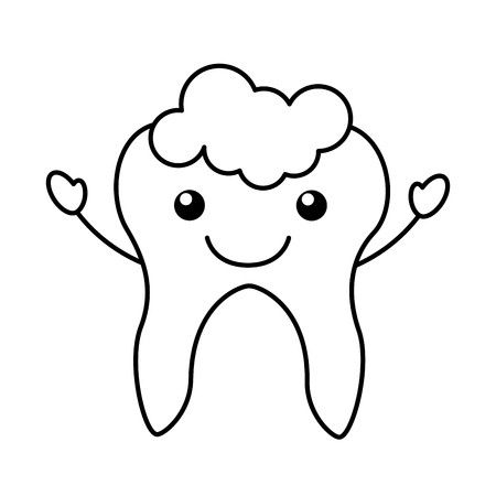 Human tooth with toothpaste character vector illustration design