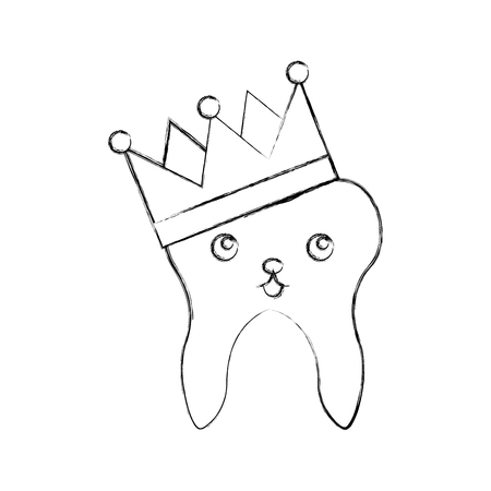 Human tooth with crown  character vector illustration design Illustration