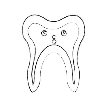 Human tooth character vector illustration design Illusztráció