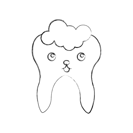 Human tooth with toothpaste  character vector illustration design Illustration