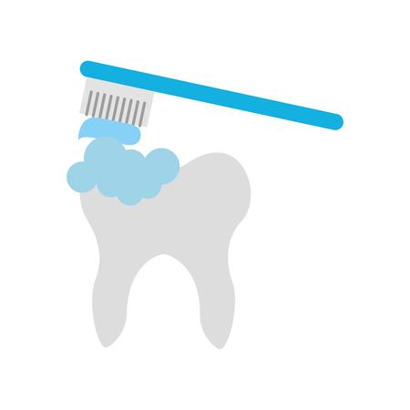 Menselijke tand met ontwerp van de tandenborstel het vectorillustratie