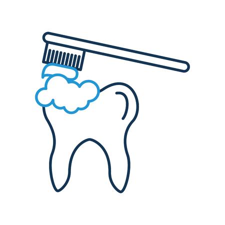 Menschlicher Zahn mit Zahnbürste Vektor-Illustration Design Standard-Bild - 94937864