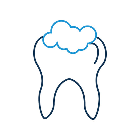 Human tooth with toothpaste vector illustration design
