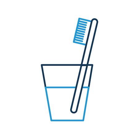 glas met tand tandenborstel vector illustratieontwerp Stock Illustratie