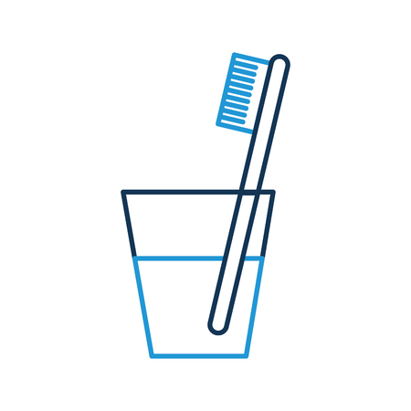 glass with dental toothbrush vector illustration design Illustration