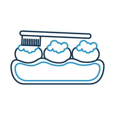 Zahnpflege mit Zahnbürste Vektor-Illustration Design Standard-Bild - 94961639