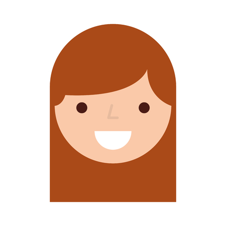 cute woman head character vector illustration design