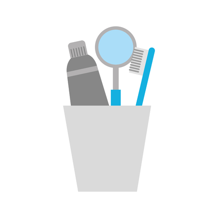 cup with toothbrush and toothpaste vector illustration design Ilustração