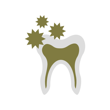 Human tooth with bacterium vector illustration design Çizim