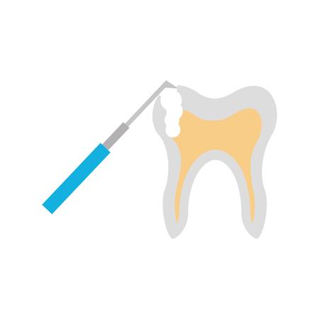 Human tooth with dental drill vector illustration design Illusztráció