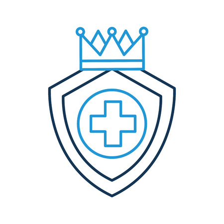 shield guard with crown and cross vector illustration design