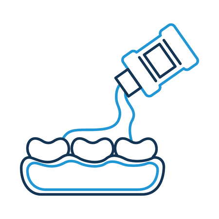 tooth care with mouthwash vector illustration design