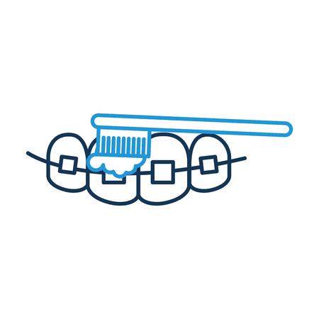 Zahnpflege mit Zahnbürste Vektor-Illustration Design Standard-Bild - 94942446