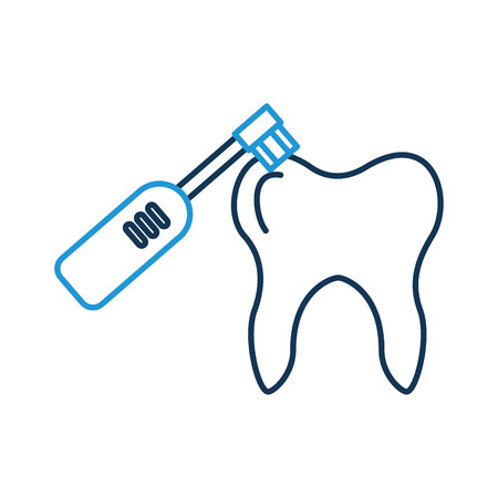 Human tooth with toothbrush electric vector illustration design