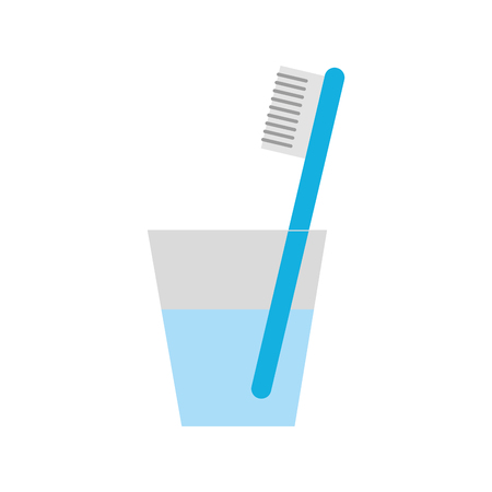 glass with dental toothbrush vector illustration design Ilustração