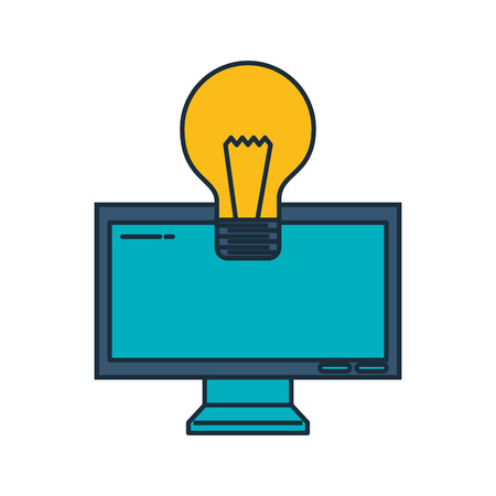 monitor computer with bulb vector illustration design 向量圖像
