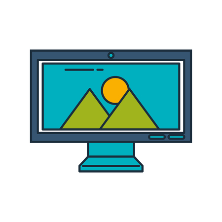 monitor computer with landscape vector illustration design