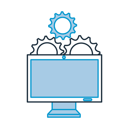 monitor computer with gears vector illustration design