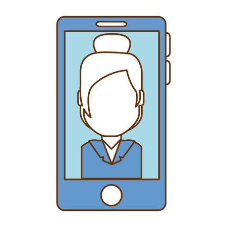 smartphone device with businesswoman vector illustration design Banque d'images - 94942080