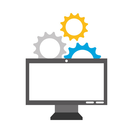 A monitor computer with gears vector illustration design 向量圖像