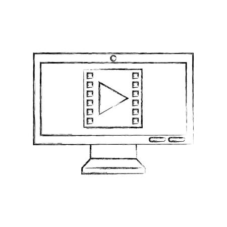 미디어 마케팅 벡터 일러스트 레이 션 디자인을 사용 하여 컴퓨터 데스크톱