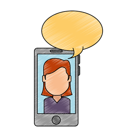 smartphone device with woman talking vector illustration design