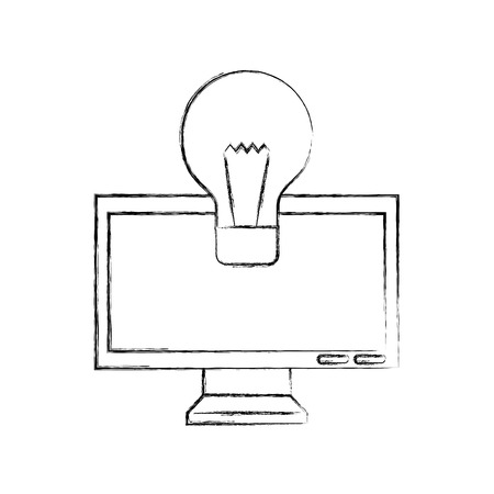 monitor computer with bulb vector illustration design Illustration
