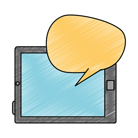 tablet device with speech bubble vector illustration design