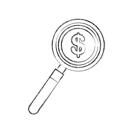 coin money with magnifying glass vector illustration design