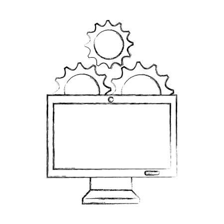 A monitor computer with gears vector illustration design Ilustração